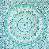 MOMOMUS Tenture Mandala - Soleil - 100% Coton, XXL, Polyvalent - Grande Serviette/Drap de Plage - Paréo, Natte/Tapis Anti Sable, Turquoise