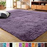 LOCHAS Ultra Soft Indoor Modern Area Rugs Fluffy Living Room Carpets for Children Bedroom Home Decor Nursery Rug 2x3 Feet, Grey Purple