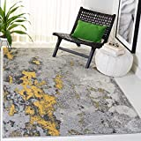 Safavieh Adirondack Collection ADR134H Modern Abstract Distressed Area Rug, 4' x 6', Grey/Yellow