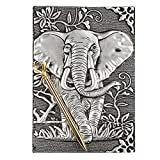 Elephant Journal,Leather Writing Journal Notebook,A5 Lined Journal,200Pages,Personal Diary-Antique Handmade Embossed Daily Notepad Sketchbook,Travel Diary&Notebooks to Write in,Gift for Men&Women