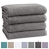 100% Cotton Quick-Dry Bath Towel Set (30 x 52 inches) Highly Absorbent, Textured Popcorn Weave Bath Towels. Acacia Collection (Set of 4, Dark Grey)