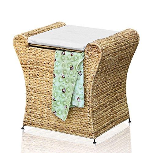 BIHL Badhocker Wäschehocker Wäschebox Badhocker Sitz Wäschetruhe Wasserhyazinthe Natur Korb Case