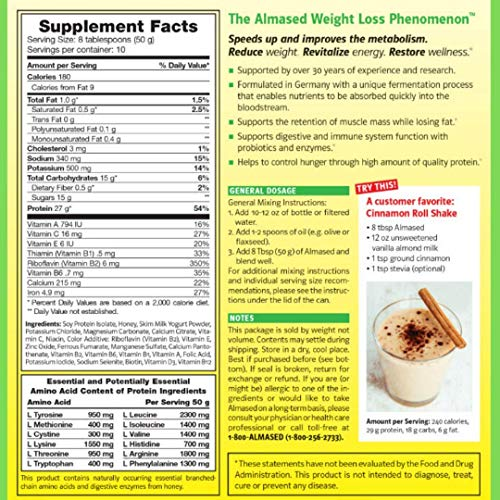 Almased Meal Replacement shakes – Gluten-Free, non-GMO Weight Loss Powder – Vanilla Flavor, 17.6 oz (2 Pack) 3
