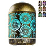GeeRic Humidificador Aceites Esenciales,300ml humificador de Aromas en Metal Difusor de Aceite perfumado Nebulizador silencioso para aceites Esenciales con 7 Colores LED para Yoga Oficina