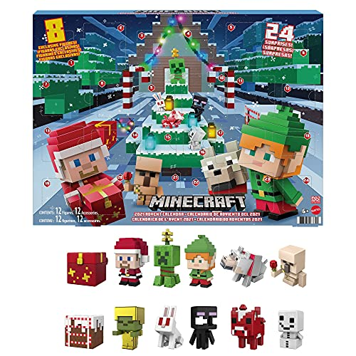 Minecraft Calendario de adviento de Navidad Accesorios sorpresa de juguete, ideal para regalo (Mattel HBB20)