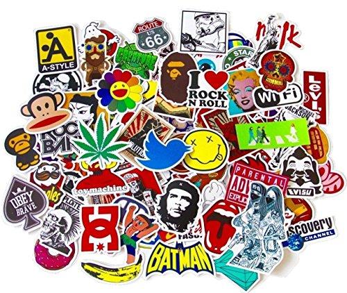 StickerFactory (100 Unidades Pegatinas de Vinilo para Todos los Estilos, para Ordenador portátil, Patinete, Snowboard, Maleta, Bicicleta, Parachoques de Coche
