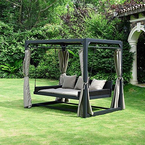 Home Deluxe - Sonnenliege Pavillon Provence - Schwebendes Rattanbett inkl. schließbare Vorhänge   Hollywoodschaukel, Doppel-Gartenliege, Lounge-Pavillon