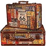 LHSUNTA Juego Duradero de 2 Maletas de Recuerdo de Madera, Caja organizadora de Cofre de joyería, Caja de Madera portátil Antigua, exhibición de Ventana, Accesorios de fotografía, Proyecto