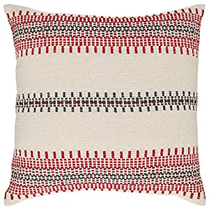 """Imported For this modern throw pillow, multicolored woven strands form beautiful geometric patterns that are fashioned into symmetrical stripes on a white field, creating drama and lending an air of sophistication. 18""""L x 18""""W Multicolored woven tech..."""