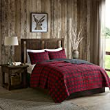 Woolrich 100% Cotton Quilt Reversible Plaid Cabin Lifestyle Design - All Season, Breathable Coverlet Bedspread Bedding Set, Matching Shams, Buffalo Check Red Full/Queen(92'x96')
