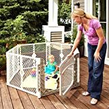Toddleroo by North States Superyard Ultimate 6 Panel Play Yard: Safe play area indoors or outdoors. Folds up with carrying strap for easy travel. Freestanding. 18.5 sq. ft. enclosure (26' tall, Ivory)