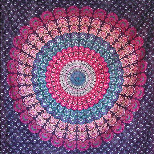 momomus Arazzo Mandala - Hippie - 100% Cotone, Grande, Multiuso - Telo Arredo Copridivano/Copritutto - Copriletto Matrimoniale - Gran Foulard per Divano - Lilla, 210x230 cm