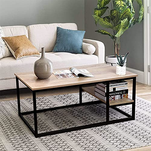 Table Basse de Salon ,Table de Salon avec Etagère, Table Bois Moderne avec Rangement, 102L×50W×40H cm,Table Rectangulaire avec Cadre en Métal (Couleur du Bois)