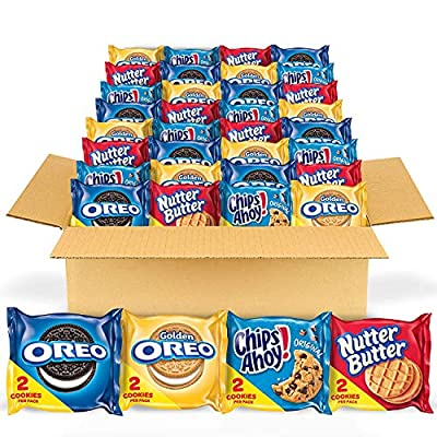 This bulk variety package contains 56 snack packs: 14 each of OREO Chocolate Sandwich Cookies, OREO Golden Sandwich Cookies, CHIPS AHOY! Chocolate Chip Cookies, and Nutter Butter Sandwich Cookies. These treats are iconic. There's nothing like cream w...