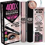 400X Pure Silk Fiber Lash Mascara [Ultra Black, Waterproof], Longer & Thicker Eyelashes, Smudge-Proof, Long Lasting, Instant & Very Easy to Apply, Hypoallergenic, Cruelty & Paraben Free (Mia Adora)