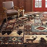 Home Dynamix Buffalo Bear Rustic Area Rug, Brown/Red, 5'2'x7'2'