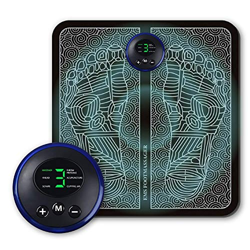Electric Foot Massager, EMS Feet Massage Machine, Circulation Booster for feet and Legs, Folding Portable Massage Foot Mat USB Rechargeable