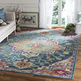 Safavieh Crystal Collection CRS501T Boho Chic Vintage Distressed Area Rug, 7' Square, Teal/Rose
