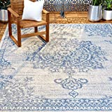Home Dynamix Nicole Miller Patio Country Azalea Indoor/Outdoor Area Rug 5'2'x7'2', Traditional Medallion Gray/Blue