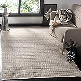 Safavieh Montauk Collection MTK341A Handmade Flatweave Ivory and Grey Cotton Area Rug (5' x 8')