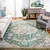 Safavieh Madison Collection MAD447Y Boho Chic Medallion Distressed Non-Shedding Stain Resistant Living Room Bedroom Area Rug, 8' x 10', Green / Turquoise