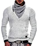 Indicode Homme Dane Pull D'Hiver À Grosse Maille avec Col Montant | Chaud Pull pour Homme Moderne Pull À Message Hoddie Pull Confortable Pull en Maille Pull en Maille pour Homme en Off White L