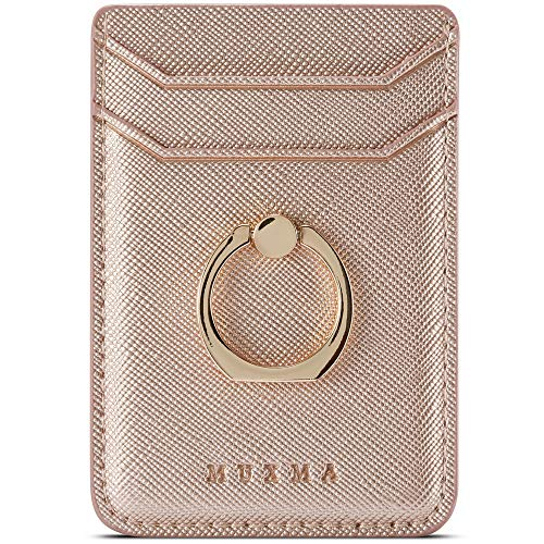 TOPWOOZU Phone Card Holder with Ring Grip for Back of Phone,Adhesive Stick-on Credit Card Wallet Pocket for iPhone,Android and Smartphones (Rosegold)