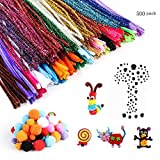 500 Pieces Pipe Cleaners Set, Including 300 Pcs 26 Colors Chenille...