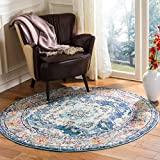 Safavieh Monaco Collection MNC243N Bohemian Chic Medallion Distressed Area Rug, 3' Round, Navy/Light Blue