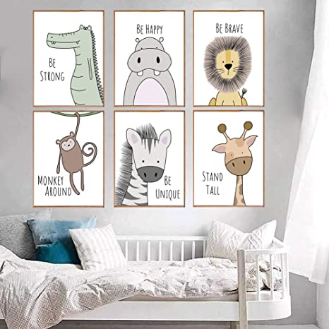 Amazon Com Cute Animals Wall Art Canvas Print Poster For Nursery Wall Decor Wall Art Painting For Baby Room Decor Kids Room Decoration Colour1 Unframed Posters Prints