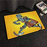 Retro Door mat Pop Art Comic Book Style Robot Mailman Vintage Science Fiction Design Personality W16 xL24 Yellow and Light Blue
