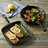 Cuisinart Pre-Seasoned Cast Iron 9.25' Square Grill and 10' Round Fry Pan (2 Pack), Black