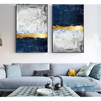 Ruichuangkeji Canvas Paintings Wall Art Abstract Blue Navy Marble Prints And Poster Pictures For Living Room Office Home Decor 2x60x80cm 23 6 X31 5 With Frame Amazon Co Uk Kitchen Home