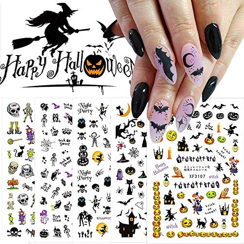 Halloween Nail Art Stickers Decals,10 Sheets 3D Self-Adhesive DIY Nail Sticker Witch Skull Witch Pumpkin Maple Leaf Cat Design Nail Art Design for Halloween Party Supply Acrylic Nail Art Supplies