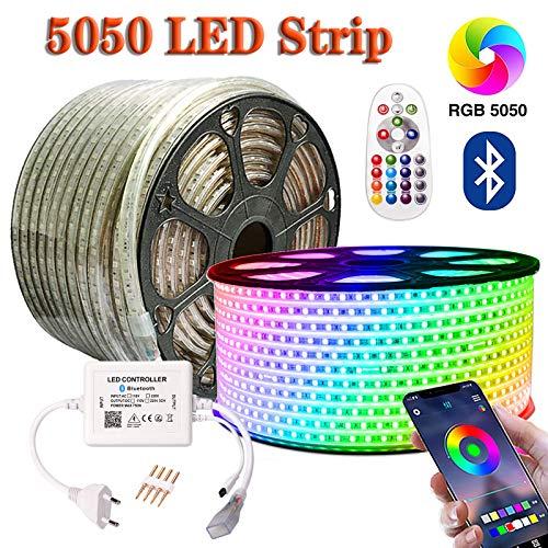 SIGHTLING 30M RGB LED Strip Lichtband mit 24 Tasten Fernbedienung Bluetooth Kontrolliert LED Streifen, 60LEDs/m 5050SMD Lichterkette Wasserdicht IP65 Lampenband