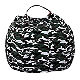 JIAN YA NA Kids Toy Storage Bean Bag Stuffed Animal Storage Bean Bag Chair Perfect Storage Solution for Blankets Pillows Towels Clothes (Camouflage, Round 32')