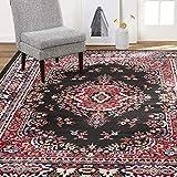 Home Dynamix Premium Sakarya Traditional Area Rug, Oriental Black/Red 3'7'x5'2'