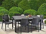 Keter 17190205 Tisch Melody Table, rechteckig, Rattanoptik, Kunststoffoberfläche, Kunststoff, anthrazit - 4