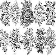 """💕【10 Sheets】--VANTATY Temporary Tattoos For Women Kids Girls Adults Body Art Stickers. 【Click Our Store/Brand Name to See More Fashion Designs】 💕【Size】--19x9CM 7.4""""x3.5"""" 【Long Lasting】Waterproof and Lasts Body from 3-5 days. Sexy Fake Flower Blossom ..."""