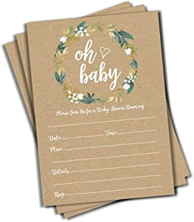 50 Oh Baby Kraft Greenery Invitations (Large Size 5×7) – Baby Shower..