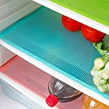 Pelapola 7 PCS Shelf Mats Antifouling Refrigerator Liners Washable Can Be Cut Refrigerator Pads Fridge Mats Drawer Table Placemats(2 Green+2 Pink+3blue)