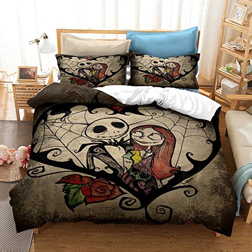 3D Nightmare Before Christmas Bedding Duvet Cover Sets, 3Pcs Queen Size Jack and Sally Ultra Soft Microfiber Galaxy Cartoon Comforter Cover Halloween Decor Bed Set with Pillowcase(w3,Queen(90