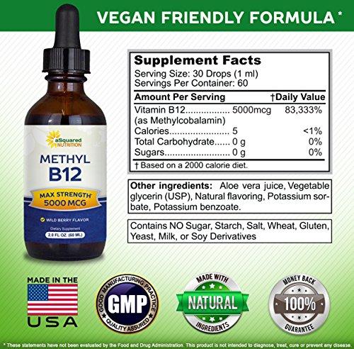 Vitamin B12 Sublingual Liquid Drops - 5000 MCG Supplement with Methylcobalamin (Methyl B-12) - Max Absorption B 12 to Increase Energy & Metabolism - Vegan Friendly - 2 fl oz 2