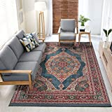 Vintage Bohemian Traditional Style Persian Oriental Medallion Design Living Dining Room Bedroom Area Rug (5 x 7, Turquoise/Aqua Antalya)