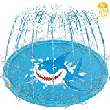 """Inflatable Splash Pad, Sprinkle and Splash Play Mat, 69"""" Outdoor Backyard Sprinklers Toys for Toodler Boys Girls Dogs, Children Fountain Baby Water Playmat Splashpad with Wading Pool Shark (Blue)"""
