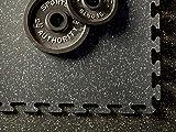 American Floor Mats Fit-Lock 3/8 Inch Heavy Duty Rubber Flooring - Interlocking Rubber Tiles (24' x 24' Tile) 10% Tan 4' x 4' Set (4 Tiles Total) - Exercise Mats, Home Gym Sets