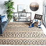 Safavieh Kilim Collection KLM752A Handmade Moroccan Boho Jute & Cotton Area Rug, 5' x 8', Natural / Charcoal