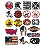 19-Pack Union Hard Hat, Tool Chest, Lunch Box Stickers | Proudly MADE IN USA! | 100% Vinyl Funny decals Construction, Electrician, Oilfield, Military, Fire Crew, Mechanic | Display your American Flag!