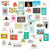 40 Birthday Cards Assortment with Envelopes - Blank Inside - Men Women Kids Parents Coworkers