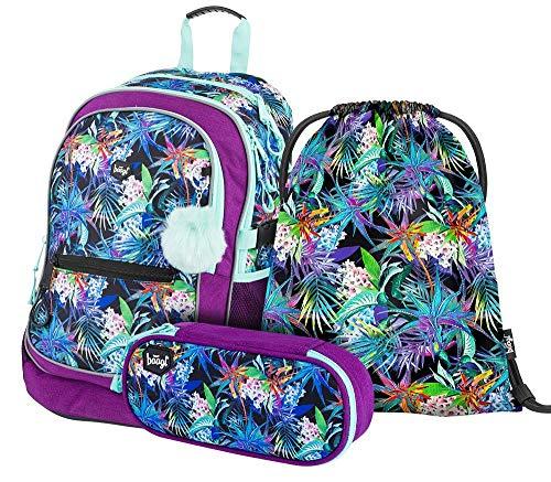 Schulrucksack Set 3 Mädchen Teilig, Schultasche ab 3. Klasse, Grundschule Ranzen mit Brustgurt, Ergonomischer Schulranzen (Jungle)